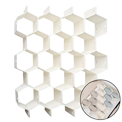nuosen - 8 separadores de cajón organizadores de Paneles de Abeja de plástico para Armario, Cajas de Almacenamiento para Ropa Interior, Calcetines, Sujetadores, Corbatas, Bufandas y Maquillaje