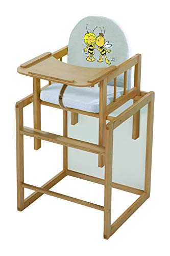 roba Kombi-Hochstuhl, Hochstuhl mit Essbrett wandelbar zu Tisch & Stuhl, Kinderhochstuhl Holz natur, Sitz gepolstert 'Biene Maja'