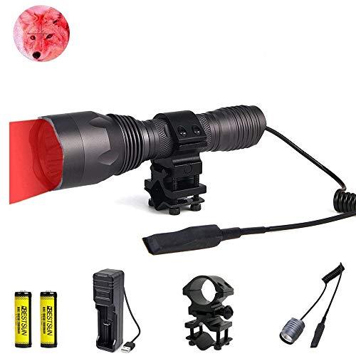 LUXJUMPER Rotlicht Taschenlampe, 1000 Lumen Rotes Jagdlicht 350 Yards Taktische Taschenlampe Wasserdichte Singlemode-Taschenlampe für die Jagd mit Druckschalter