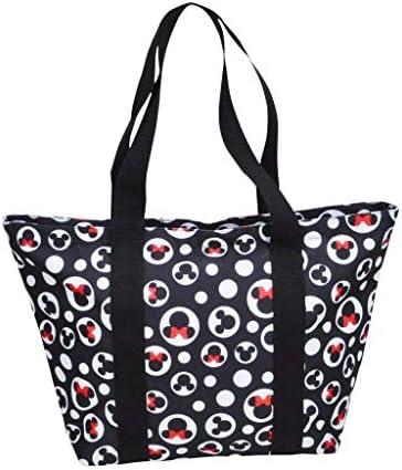 Disney Tote Mickey & Minnie Mouse Icon Print Zipper Travel Bag