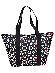 """Disney travel tote bag with Mickey & Minnie Mouse Icon print Top zip closure, inner zip pocket, double shoulder straps, polyester canvas Tote bag is sized for the Amusement Parks, beach, travel, shopping and everyday use Approximate measurements: 18""""..."""