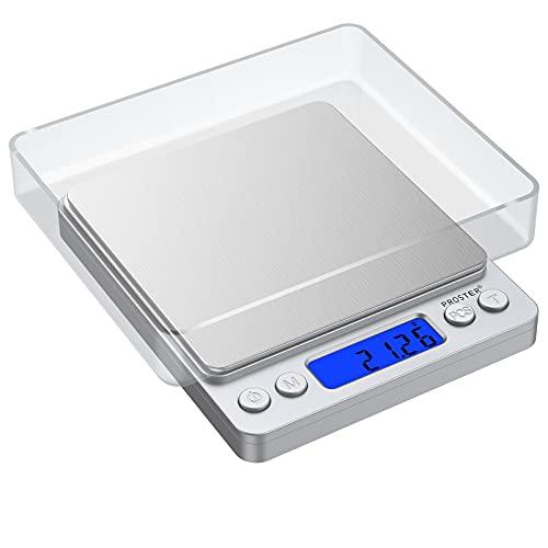 Balance de Précision 0.01-500g Mini Balance de Poche Electronique avec Ecran Rétroéclairé LCD Deux Plateaux fournis Fonction Sauvegarde Calcul et Pesage Tare balance de cuisine/bijoux