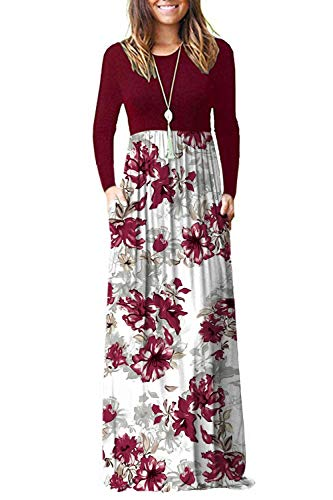 AUSELILY Women Long Sleeve Loose Plain Maxi Dresses Casual Long Dresses with Pockets (L, Red Flower White)