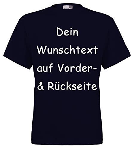 Marken T-Shirt mit Wunschtext - Front- und Rückenprint - Navy 2XL - Sprüche indivduell auf das T-Shirt drucken Lassen | Personalisierter Textildruck