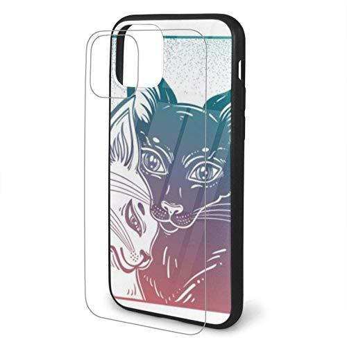 Diseño con Gato Blanco y Negro en Compatible para iPhone 11 Funda rígida PC + TPU Suave Funda Protectora Delgada a Prueba de Golpes Pro MAX Max-iphone11Pro-
