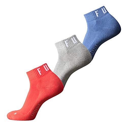 Fussvolk Quarter Socken 3 Paar Sportstrümpfe Ankle Socks 3er rot-grau-blau, Size:43-46