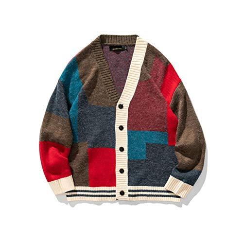 Men Patchwork Cardigan Mens Fashion Oversize Knitted Sweater Button Coats