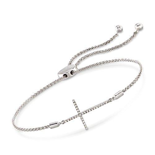 Ross-Simons 0.10 ct. t.w. Diamond Sideways Cross Bolo Bracelet in Sterling Silver