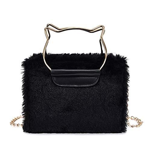 TAMALLU Damen Handtasche Mode Umhängetasche Velour Einfarbig Plüsch Reise mit Kette(Schwarz)