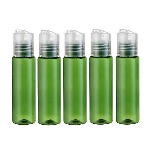 12PCS 30ML 1OZ Green Empty Plastic Bottle with Clear Press Disk Top Cap Toner Lotion Makeup Water Essence Storage Holder Sample Jar Refillable Cosmetic Container for Travel Vacation Daily Life Use