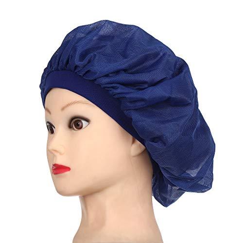 AMICE Kopfbedeckung für lange Haarpflege, atmungsaktives Netzgewebe, für Damen, modisch, Nachtschlaf-Hut, Seidenkappe, Satin-Kappe, Kopfwickel (blau)