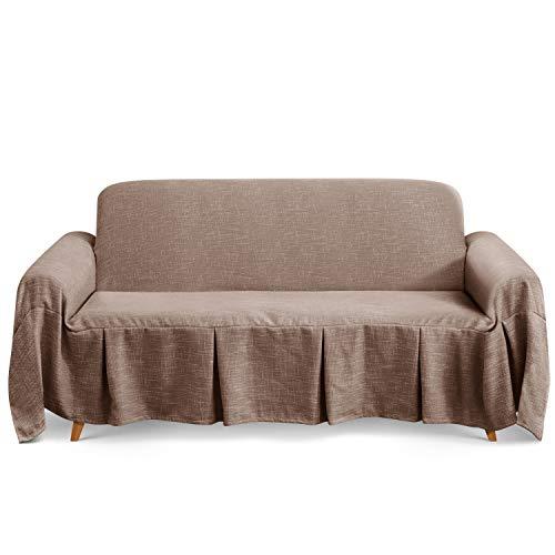 TAOCOCO Mehrzweck Sofabezug Sofadecke Leinen Sofa Überwurf für Couch Überzug Sofa Überzug (Sand, 3 Sitzer (320 x 210 cm))