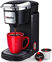 Mueller Pro Single Serve Coffee Maker, Personal Coffee Brewer Machine for Single Cup Pods & Reusable Filter, 10oz Water Tank, Quick Brewing, One Touch Operation, Compact Size, for Home, Office, RV