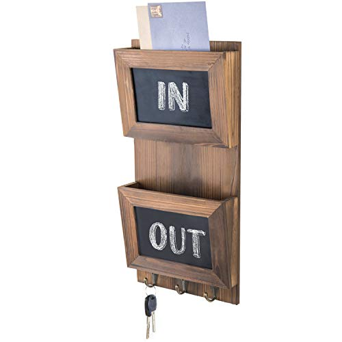 MyGift Wall-Mounted Rustic Brown Wood Mail Sorter with Chalkboard Panels & 3 Metal Key Hooks