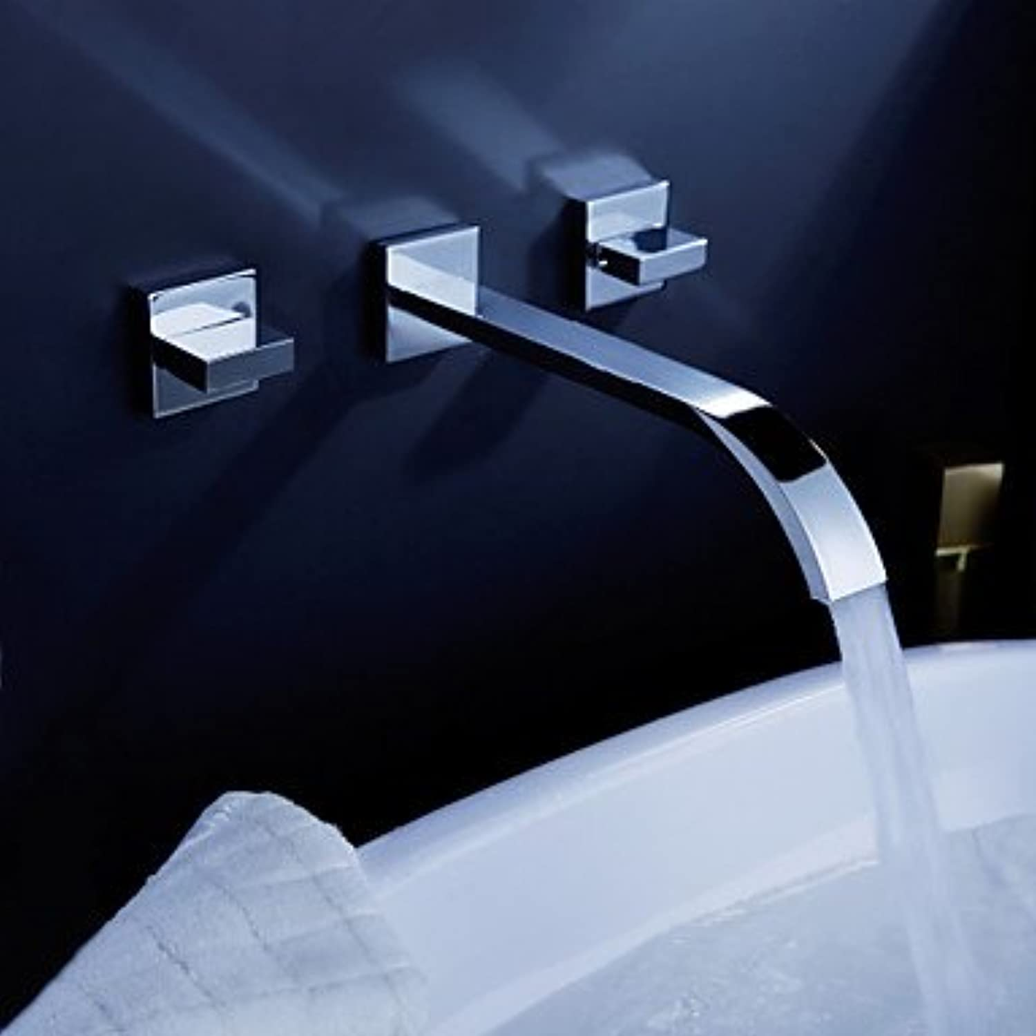 HZZymj-Contemporary wall mounted waterfall two handle Chrome three hole with the ceramic valve, bathroom sink faucets