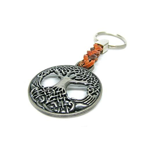 Schlüsselanhänger Schlüsselring Baum des Lebens an Lederband - EIN besonderes Schmuckstück, das Kraft gibt. 7cm Plus Ring 2,5cm