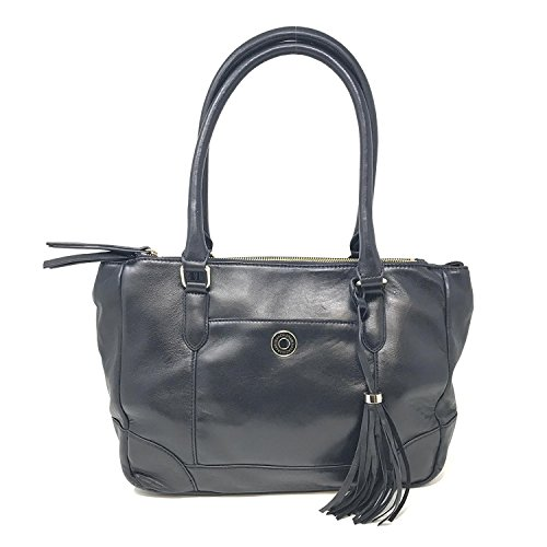 Isaac Mizrahi Live! A256000 Bridgehampton Black Lamb Leather Tote Women's Bag