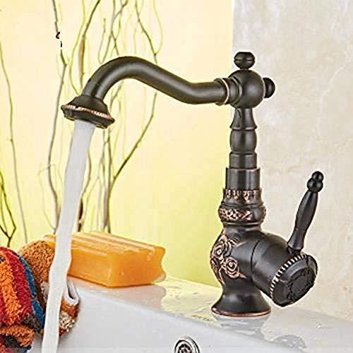 Latón antiguo baño lavabo grifo grifo escultura giratoria mono grifo grifo clásico cocina grifo