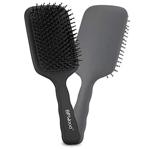 BFWood Große Paddle Bürste zum Entwirren, perfekt für nasses oder trockenes Haar, für Frauen, Männer und Kinder, Bei langem, dicken, dünnen lockigen, natürlichen Haar (mattschwarz)