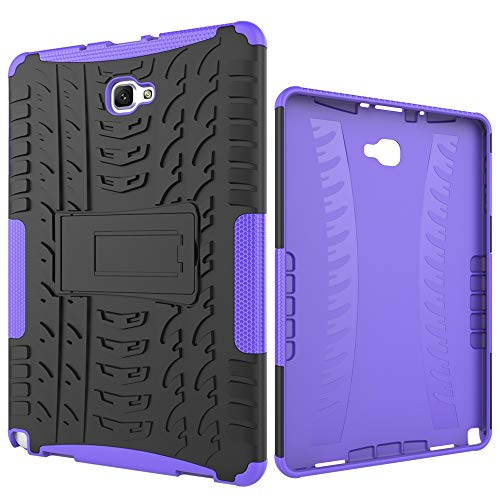ZHENGNING Protective Case Tablet Cover for Samsung Galaxy Tab A 2016 10.1/P585/P580 Tire Texture Shockproof TPU+PC Protective Case with Folding Handle Stand Tablet Slim Cover Shell (Color : Purple)