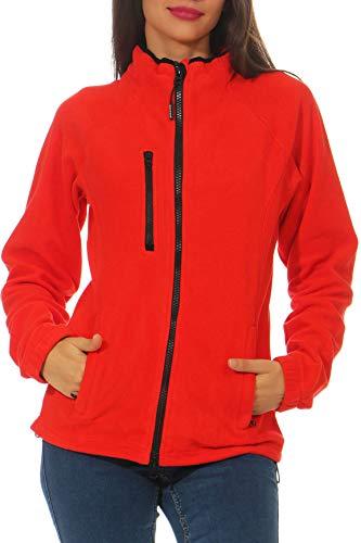 Happy Clothing Damen Fleecejacke Microfleece Outdoor-Jacke ohne Kapuze mit Kragen Dunkelblau Schwarz S M L, Größe:L, Farbe:Rot