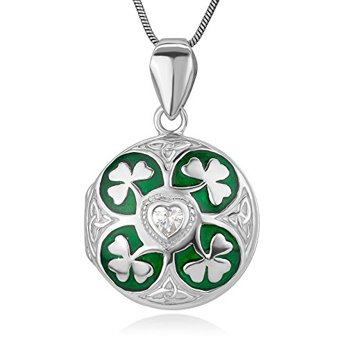 Sterling Silver Green Lucky Shamrock Leaves CZ Heart Trinity Celtic Knot Locket Necklace 18'