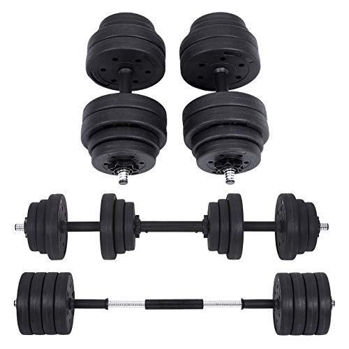 SONGMICS Kit haltères Musculation, Poids Ajustable, avec Barre d'Extension supplémentaire, 30 kg, Musculation SYL30HBK