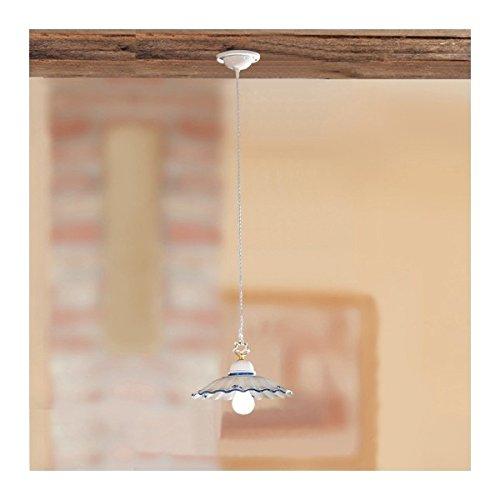 Lustre lampe pendentif en céramique plissé et orné, rustique-country – Ø 28 cm - Ambra