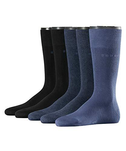 ESPRIT Herren Socken Solid - Baumwollmischung, 5 Paar, Blau (Blue/Navy 60), Größe: 40-46