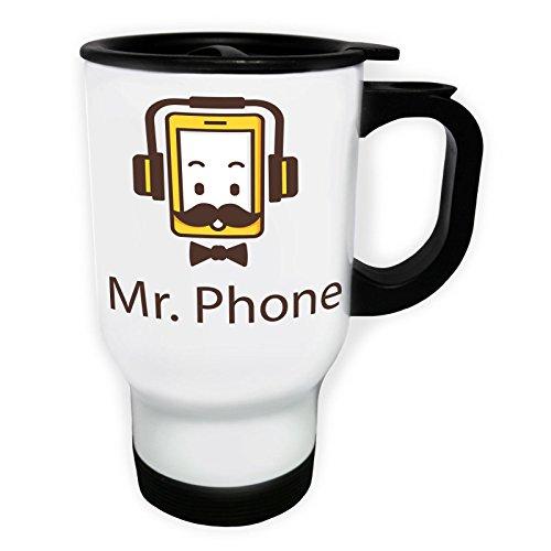 Monsieur Phone Moustache Tasse de voyage thermique blanche 14oz 400ml u437tw