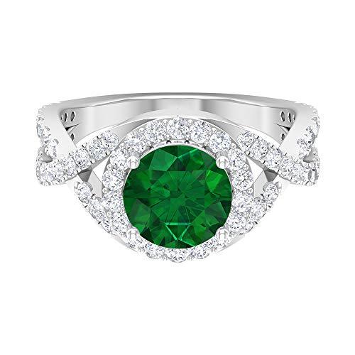 Rosec Jewels 14 quilates oro blanco redonda round-brilliant-shape H-I Green Diamond esmeralda, difuso