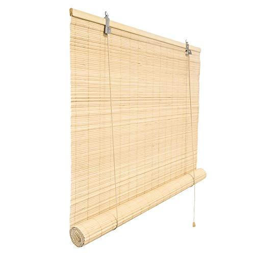 Victoria M. Bambusrollo Blickdicht 140 x 160 cm, Hochwertiges Fenster-Rollo Bambus für Innen, Praktisches Sonnenschutz und Sichtschutz Rollo Seitenzugrollo für Fenster und Türen in Natur