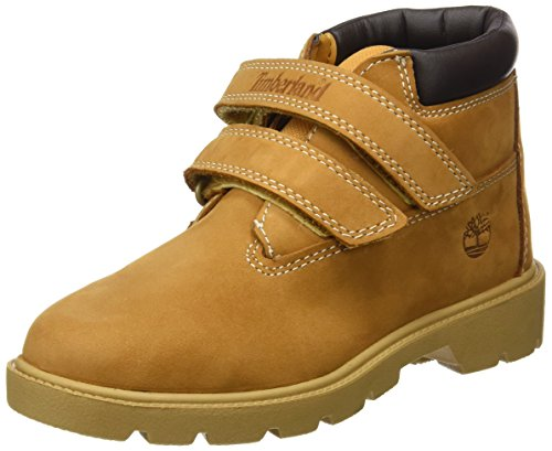 Timberland Unisex Kinder Icon Double Strap Hook & Loop Chukka Boots, Gelb (Wheat Nubuck), 33 EU