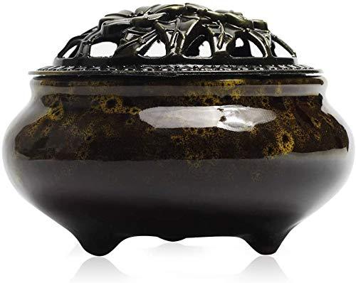 Quemador de incienso de cerámica - Incensario de carbón de porcelana con soporte de varilla de incienso de calabaza de latón y cubierta metálica, exquisitamente duradera, para ayudar a dormir (Blanco)