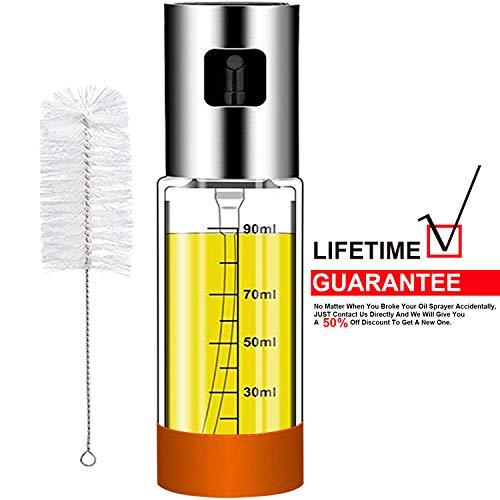 Olive Oil sprayer Mister for Cooking: 3.4-Ounce Capacity Food-grade Glass Bottle Vinegar Mist Spray Dispenser for BBQ Salad Baking Roasting Grilling Frying - Bonus a Cleaning Brush