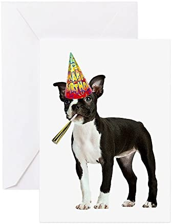 CafePress Boston Terrier Birthday Greeting Card Note Card Birthday Card Blank Inside Glossy product image