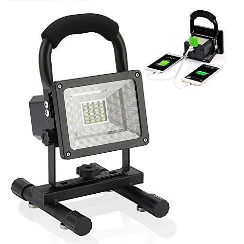 LED Portable Lights - Vaincre Spotlights Work Lights with Magnet Base - 15W 24 LED Built-in Rechargeable Lithium Batteries with USB Ports to Charge Mobile Devices (Black)