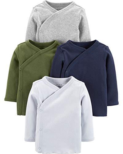 Carters Baby Boys 4-Pack Cotton Kimono Tees (Newborn, Green/Navy/Heather)