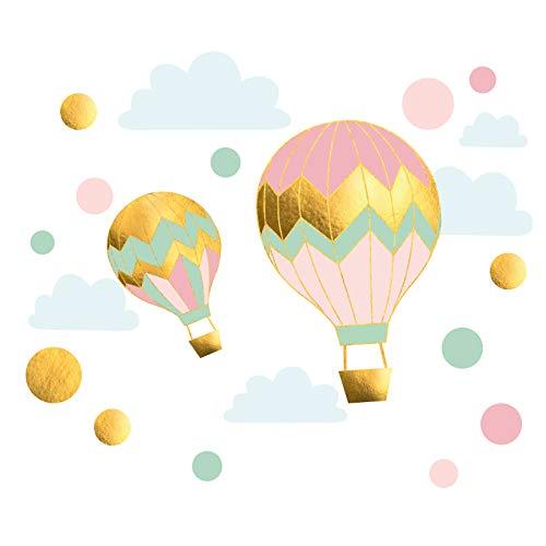 Little Deco Wandtattoo Ballon mit Wolken & Kreise I Wandbild 55 x 33 cm (BxH) I Gold Rosa Mint Kinderzimmer Deko Babyzimmer Wandaufkleber Wandsticker Mädchen DL493