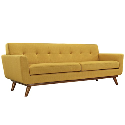 Modway Engage Mid-Century Modern Upholstered Fabric Sofa in Citrus