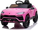 TOBBI Licensed Lamborghini Urus Kids Ride on Car 12V Electric Cars Motorized Vehicles with Remote Control,Four-Wheel Shock Absorbers,Music, Horn, USB, Pink