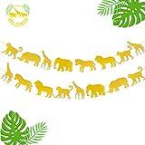 Jungle Safari Animal Banner Gold Glitter Zoo Garland Baby Shower Child Kids Boy Girl Birthday Party Supplies Decorations PRE Strung 2 PCS
