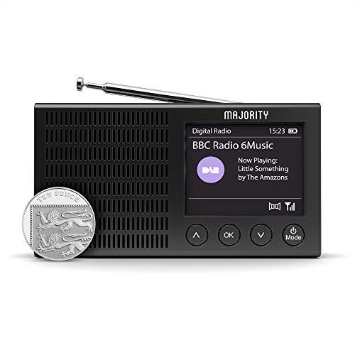Radio Dab+ et FM Majority Eddington, légère, Rechargeable et Portable, alimenté par Batterie et par Le Secteur, avec Bluetooth