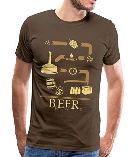 Bier Brauen Brewery Schaubild Brauerei Männer Premium T-Shirt, L, Edelbraun