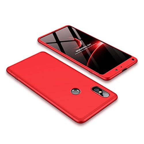 FaLiAng Funda XiaoMi Mi Mix 2S, 3 en 1 Desmontable Anti-Arañazos Hard PC Carcasa 360° Full-Cover Anti-Choque Protective Funda para XiaoMi Mi Mix 2S (Rojo)