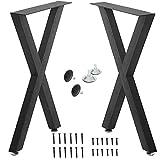 "X Type Metal Table Legs,Cast Iron Dining Table Legs Computer Desks Legs,Rustic Heavy Duty DIY Furniture Legs,2 Pcs Rustic Heavy Duty Square Tube Desk Legs(28"" Height 20"" Wide) (C)"