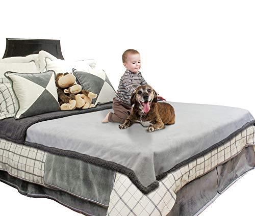 Catalonia - Manta impermeable para cama, extra grande, lavable, funda protectora de cama, manta de forro polar cálida Sherpa para canotaje, camping, sofá, asiento de coche, 203 x 229 cm