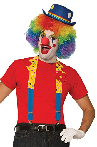 Forum Novelties X80779 Clown-Kragen und Hosenträger, Unisex, Mehrfarbig, Einheitsgröße