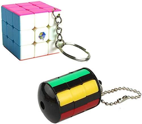 RENFEIYUAN Portátil Mini MA Colgante Creativo con Cadena para Bolso/Mochila/Llavero Rubik Cubo (Color : 2 Pack Set)