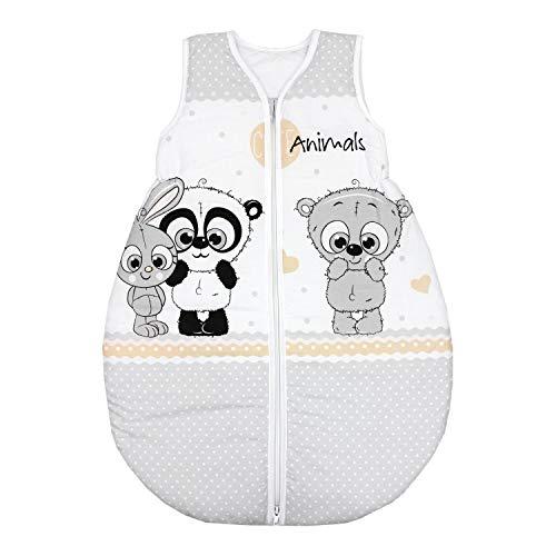 TupTam Unisex Baby Schlafsack ohne Ärmel Wattiert, Farbe: Panda Grau, Größe: 92-98